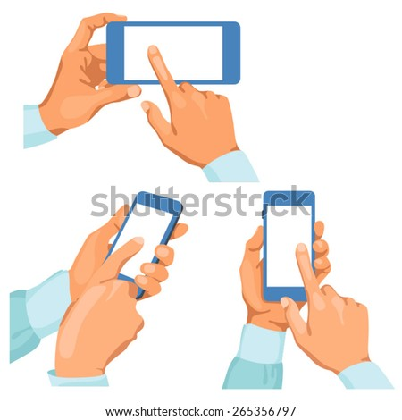 Pairs of male hands with phones / Some pairs of naked male hands in different positions. It is phone in left hand. The right hand pointing finger in the screen. Hands are in shirt sleeves.  - stock vector