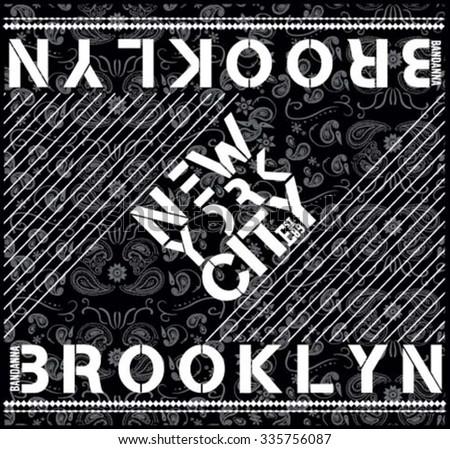 paisley bandana illustration, typography, new york t-shirt graphics, brooklyn vectors - stock vector