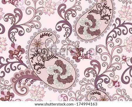 paisley in purple tones with large flowers of fancy, decorated with swirls on a light background - stock vector