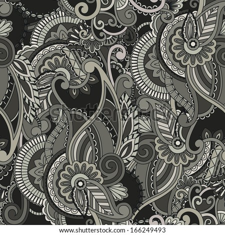 Paisley pattern on black background. Seamless background - stock vector