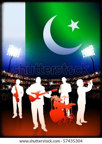 Pakistan Flag with Live Music Band on Stadium Background Original Illustration - stock vector