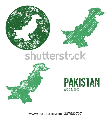 Pakistan Grunge Retro Maps - Asia - Three silhouettes Pakistan maps with different unique letterpress vector textures - Infographic and geography resource - stock vector