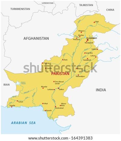 pakistan map - stock vector