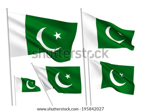 Pakistan vector flags. A set of 5 wavy 3D flags created using gradient meshes. - stock vector
