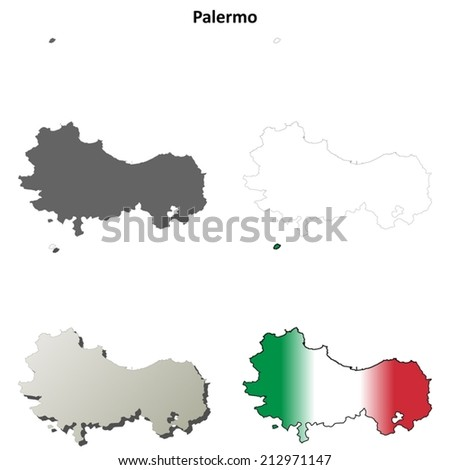 Palermo blank detailed outline map set - vector version - stock vector