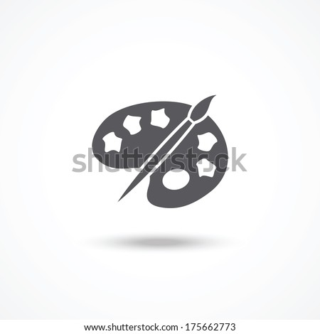 Palette and brush icon - stock vector