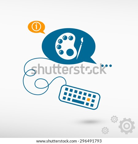 Palette and keyboard on chat speech bubbles. Line icons for application and creative process. - stock vector