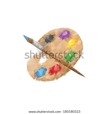 Palette and paintbrush  from polygons - stock vector