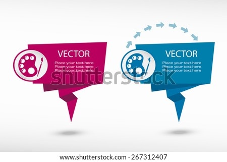 Palette on origami paper speech bubble or web banner, prints. Vector illustration - stock vector