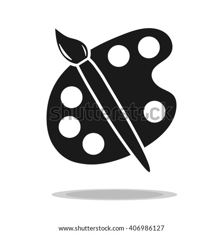 palette paintbrush black drawing icon vector. - stock vector