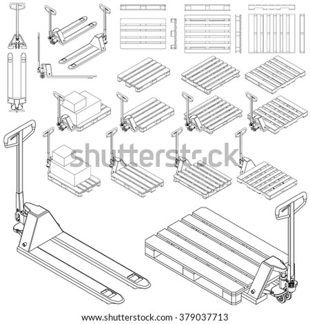 Pallet & hand hydraulic pallet truck / jack all view & isometric set line / outline technical drawing  - stock vector