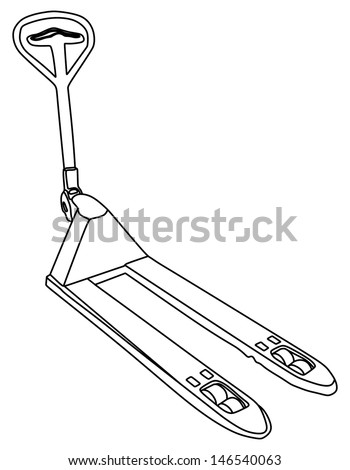 Pallet truck (for 2000 kg) isolated on white background. (with clipping paths) vector - stock vector