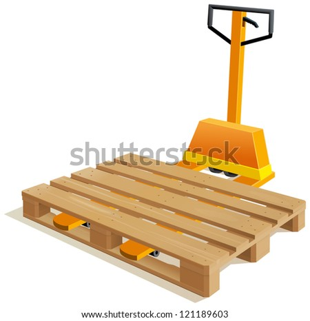 Pallet truck with wooden pallet - stock vector