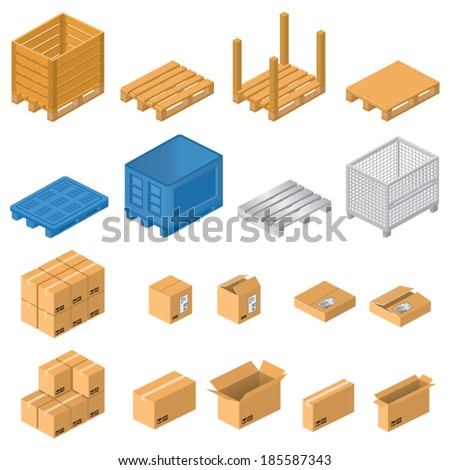 Pallets and boxes - stock vector
