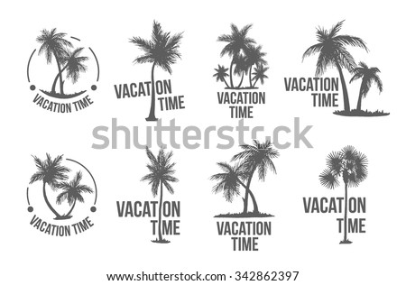 Palm beach logo template set with hand drawn palm tree - stock vector