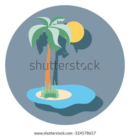 palm flat icon in circle - stock vector
