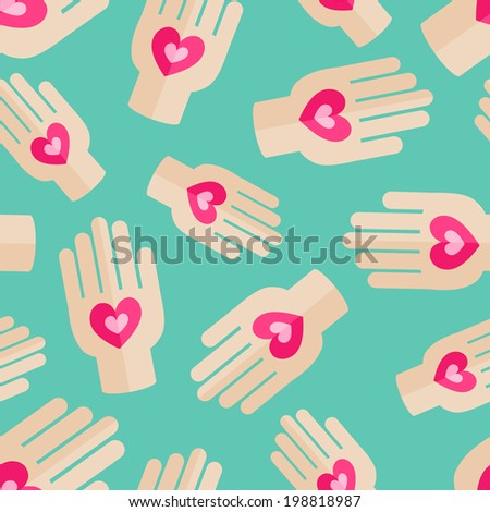 Palm Holding Pink Heart. Health Insurance  Seamless Pattern. Love Concept Flat Design - stock vector