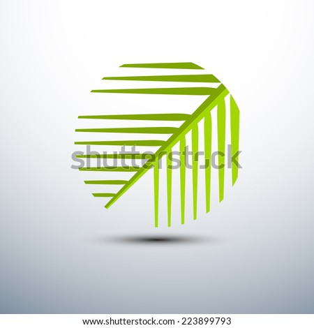 Palm leaf icons circle shape,vector illustration - stock vector