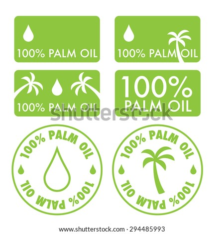 Palm oil icons vector set or collection - stock vector