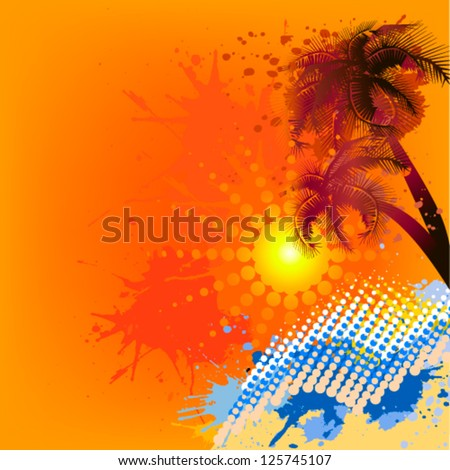 palm tree at sunset. vector - stock vector