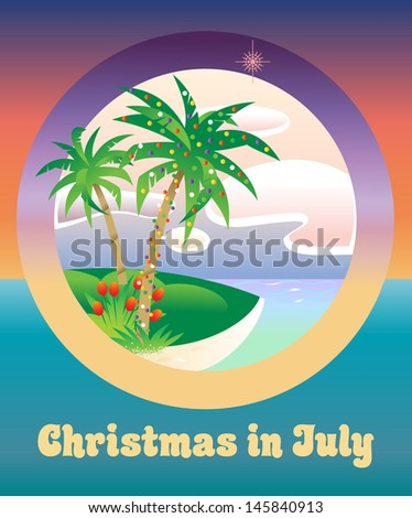 Palm tree decorated with Christmas lights: Christmas in July - stock vector
