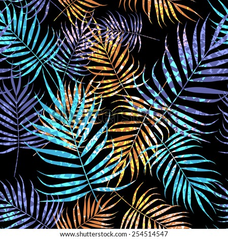 Palm tree foliage with texture on black background - stock vector