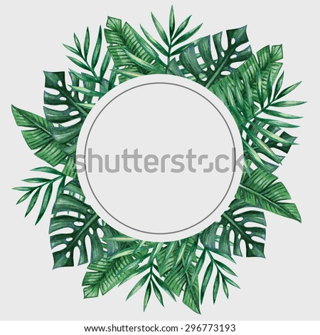 Palm tree leaves round frame. Tropical greeting card - stock vector