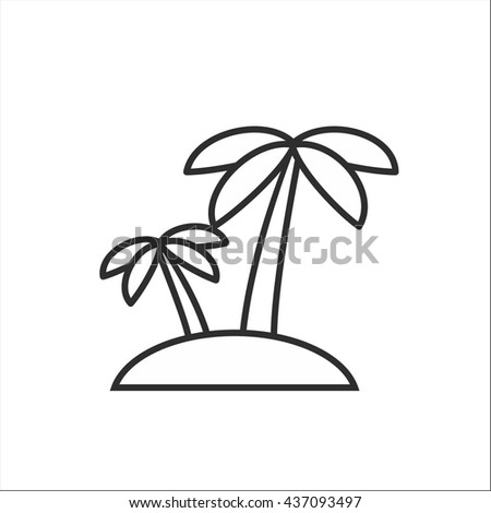 Palm tree line icon - stock vector