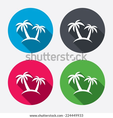 Palm Tree sign icon. Travel trip symbol. Circle buttons with long shadow. 4 icons set. Vector - stock vector