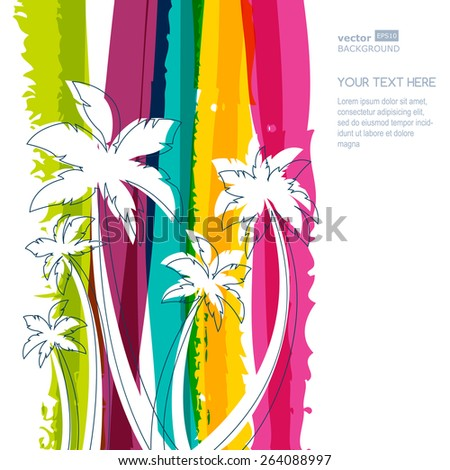 Palm tree silhouette and rainbow stripes watercolor background with place for text. Concept for travel agency, tropical resort, beach hotel, spa. Summer vacation symbol. - stock vector