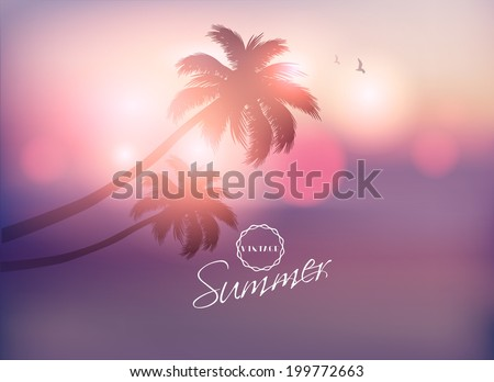 Palm Tree Sunset-Vector Illustration - stock vector