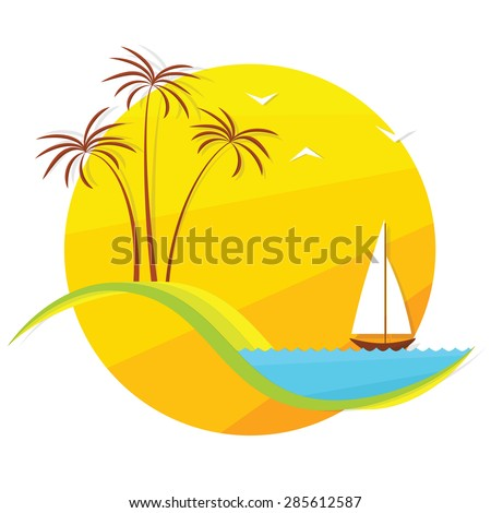 palm trees and  boat at sunset - stock vector