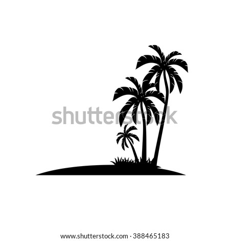 Palm trees icons vector. - stock vector