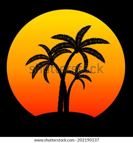 palm trees on sunrise on black background, vector illustration - stock vector