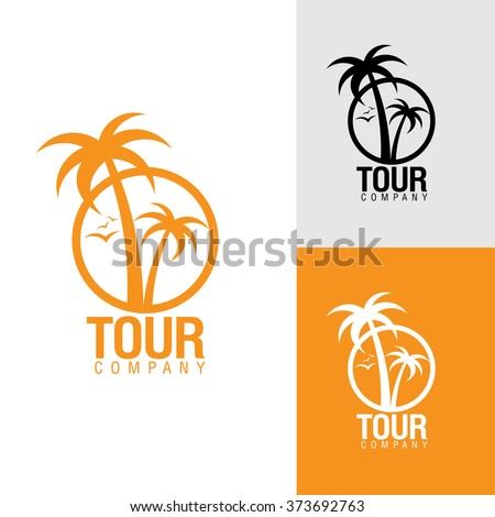 Palm trees silhouette emblems. logo travel company, travel agency. Vector illustration. icon sign. design element - stock vector
