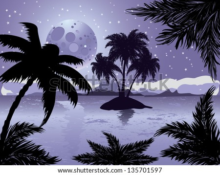 Palm trees silhouette on night tropic beach background with abstract moon. - stock vector