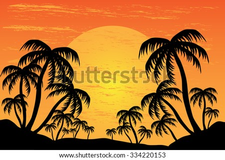 Palm trees silhouette on the background of a beautiful sunset, vector illustration - stock vector