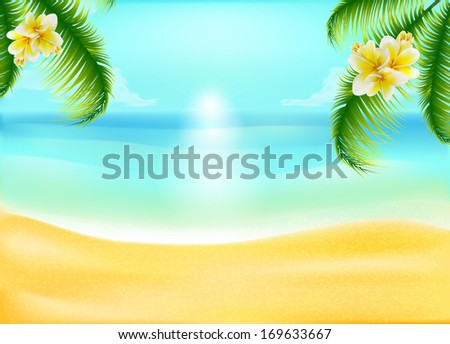 Palm-trees with tropical flowers  on  idyllic  sand beach with ocean  - stock vector