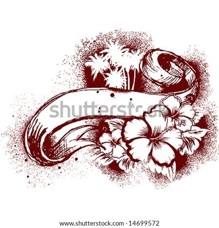 palms and hibiscus emblem - stock vector
