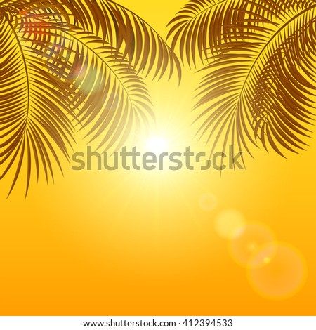 Palms and Sun on orange shiny background, illustration. - stock vector
