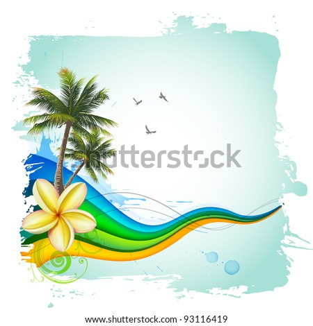 Palms and waves. Abstract tropical background - stock vector
