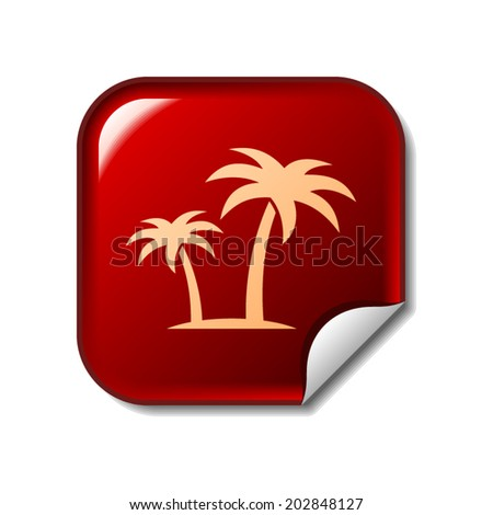 Palms icon on red web sticker - stock vector
