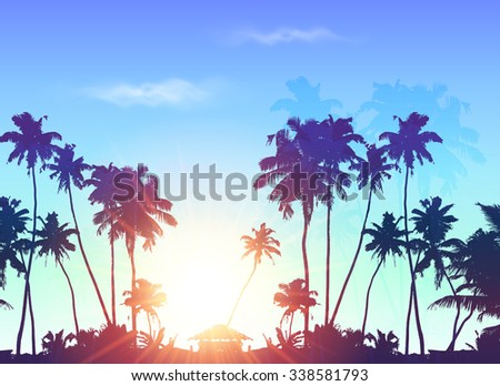 Palms silhouettes at blue sunrise sky, vector background - stock vector