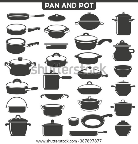 pan and pot icons, vector collection - stock vector