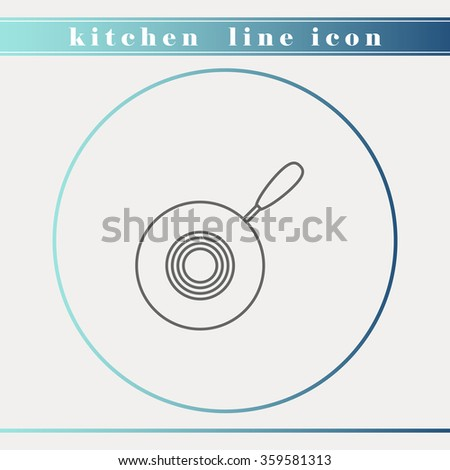 Pan outline thin line icon. Household appliance, kitchen and restaurant accessories, equipment, cooking utensil, cutlery tools, kitchenware and cookware for food preparation. Flat design. - stock vector