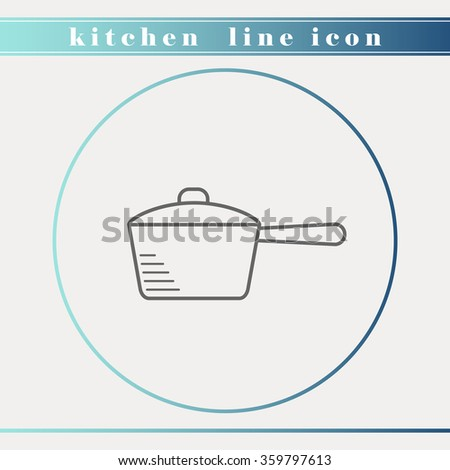 Pan with lid outline thin line icon. Household appliance, kitchen and restaurant accessories, equipment, cooking utensil, kitchenware and cookware for food preparation. - stock vector