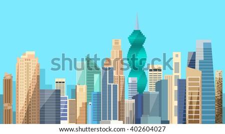 Panama City Skyscraper View Cityscape Background Skyline Flat Vector Illustration - stock vector