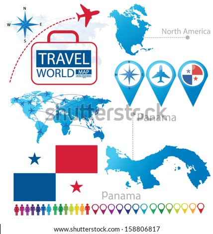 Panama. flag. North america. World Map. Travel vector Illustration. - stock vector