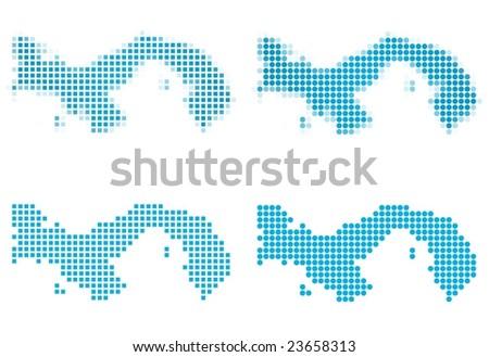 Panama map mosaic set. Isolated on white background. - stock vector