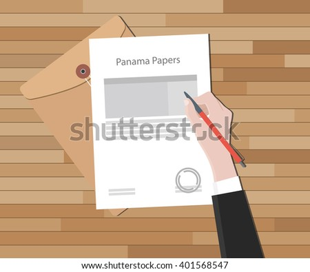 panama papers document with document and paper - stock vector